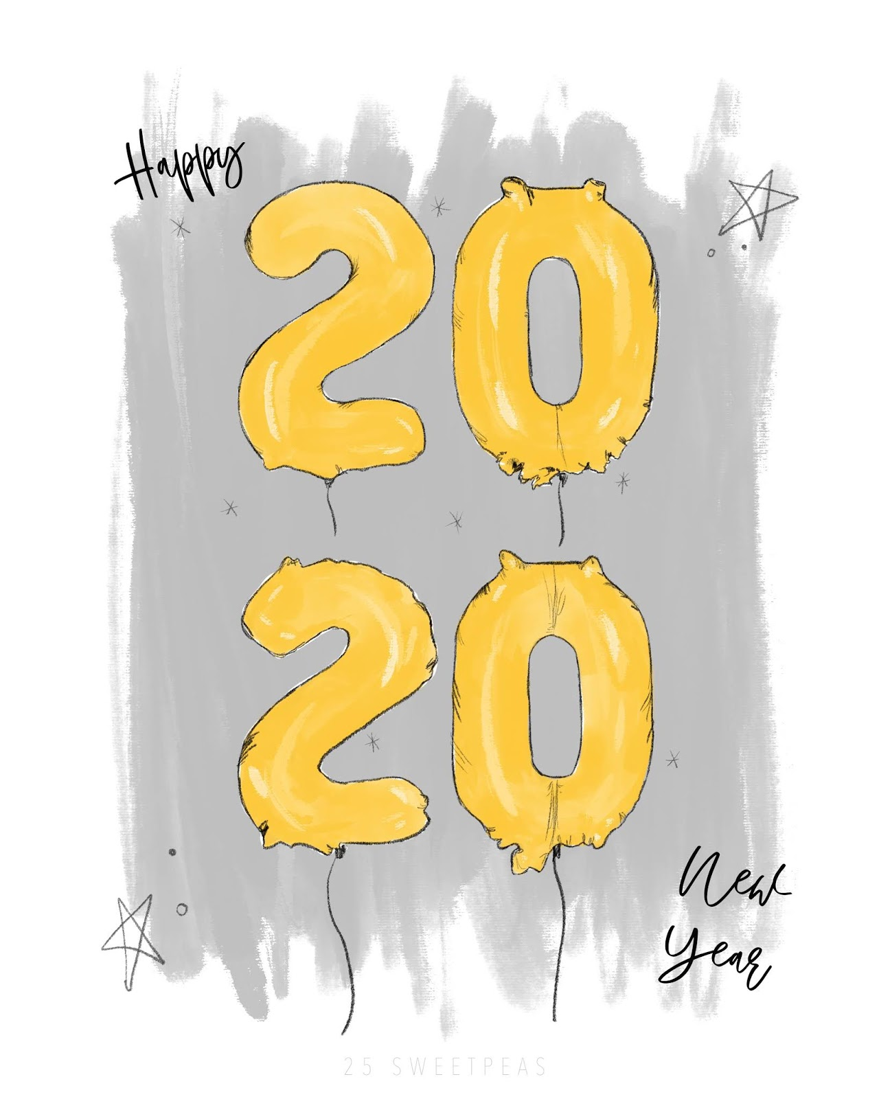 Happy New Years 2020 Illustration - 25 Sweetpeas