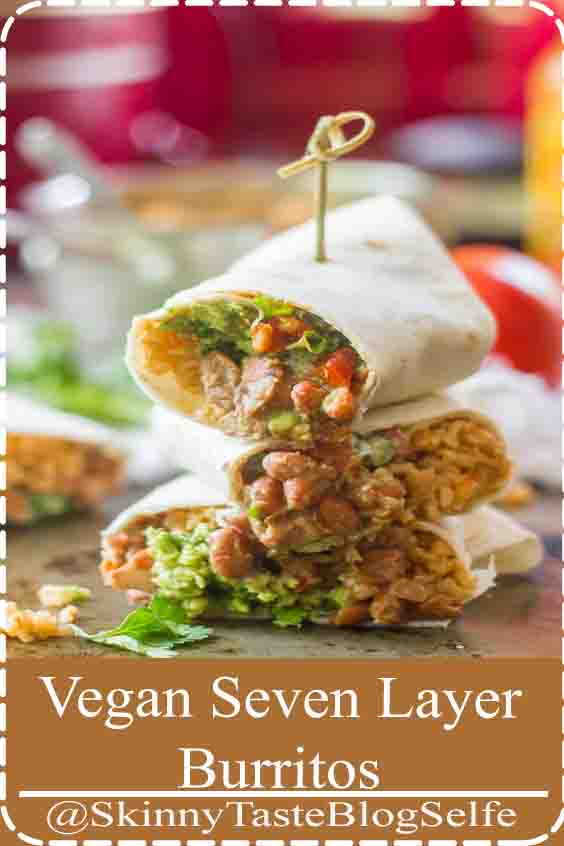 4.6 | ★★★★★ Refried pinto beans, Tex-Mex spiced rice, cashew sour cream, guacamole, tahini cheese, lettuce and tomato are stuffed into warm tortillas to make these mouth-watering Taco Bell copycat vegan seven layer burritos. You ll love this dairy-free spin on a delicious Mexican-inspired dinner #veganrecipes #veganburrito #tacobellcopycat