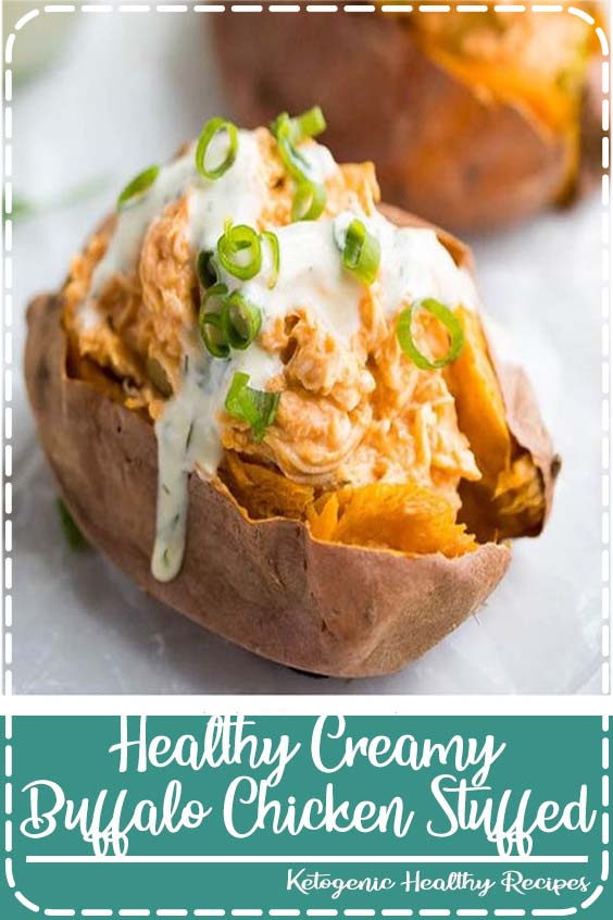 Healthy stuffed sweet potatoes filled with a creamy buffalo chicken. Whole30 and paleo, too, these buffalo chicken stuffed sweet potatoes make for a great and easy weeknight dinner recipe.
