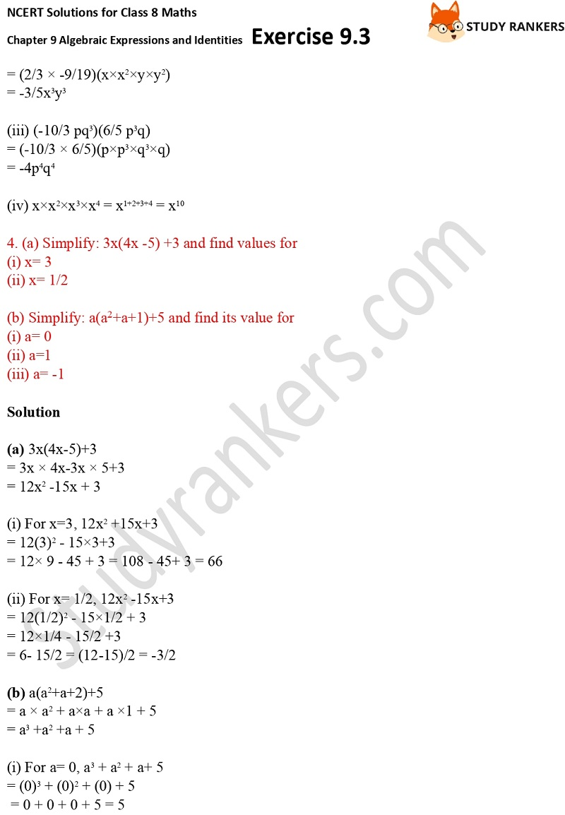NCERT Solutions for Class 8 Maths Ch 9 Algebraic Expressions and Identities Exercise 9.3 4