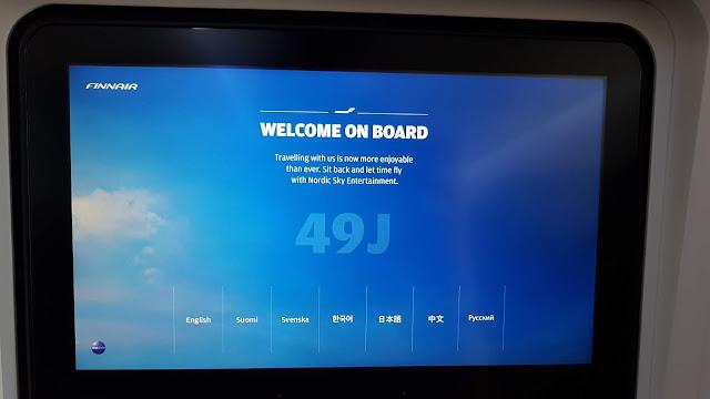 Ekran rozrywki pokładowej w Finnairze