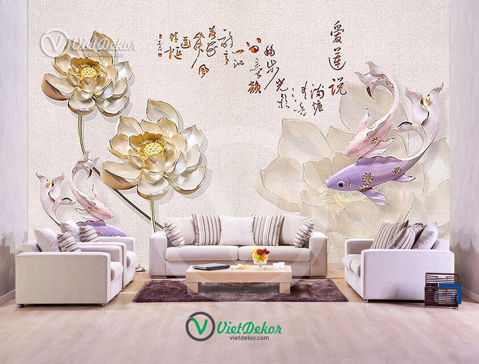 Tranh dán tường 3d hoa sen cá chép trang sức