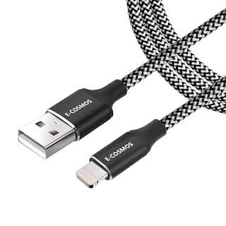 E-COSMOS 3.1A 8 Pin 6ft Long Nylon Braided Tough Cable