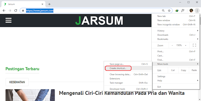 menambahkan shortcut ke desktop