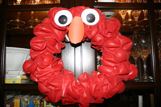 Elmo Birthday Party - Red Balloon Wreath