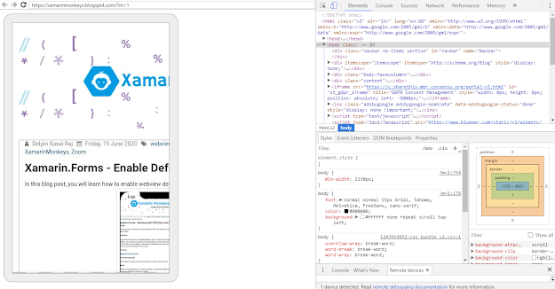 Xamarin.Forms - Debugging WebView