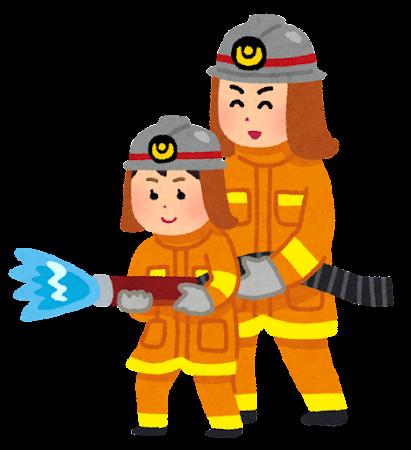 職業体験のイラスト(消防士・女の子)