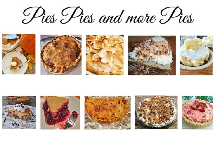 this is a round collage of pie recipes