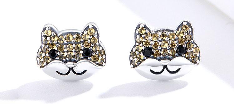 超萌柴犬 925純銀鋯石耳環