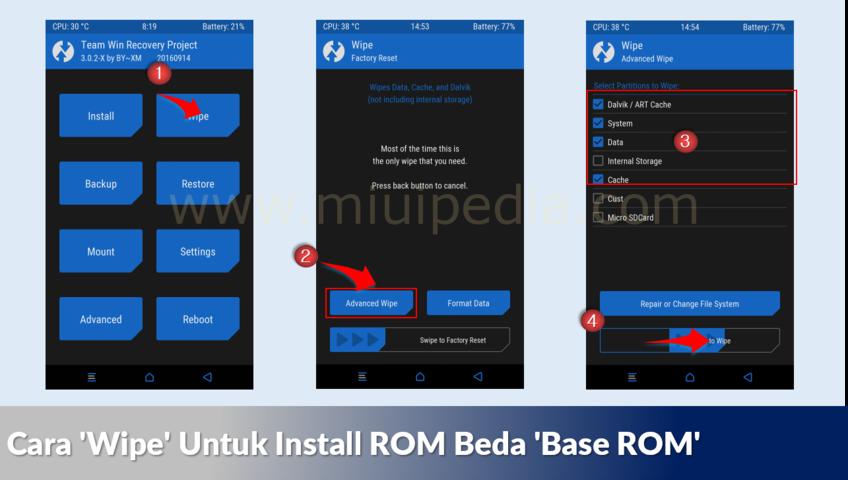 Cara Wipe Untuk Install ROM Beda Base ROM