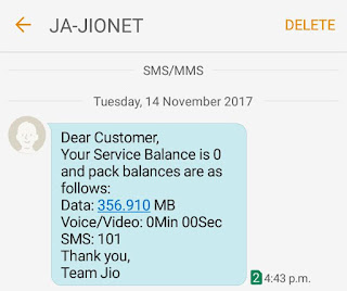 Check Jio data balance via SMS
