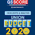 GS SCORE Union Budget 2020 Highlights & Analysis pdf Notes Download