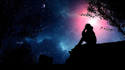 Starry Sky Lonely Girl On The Roof Wallpaper