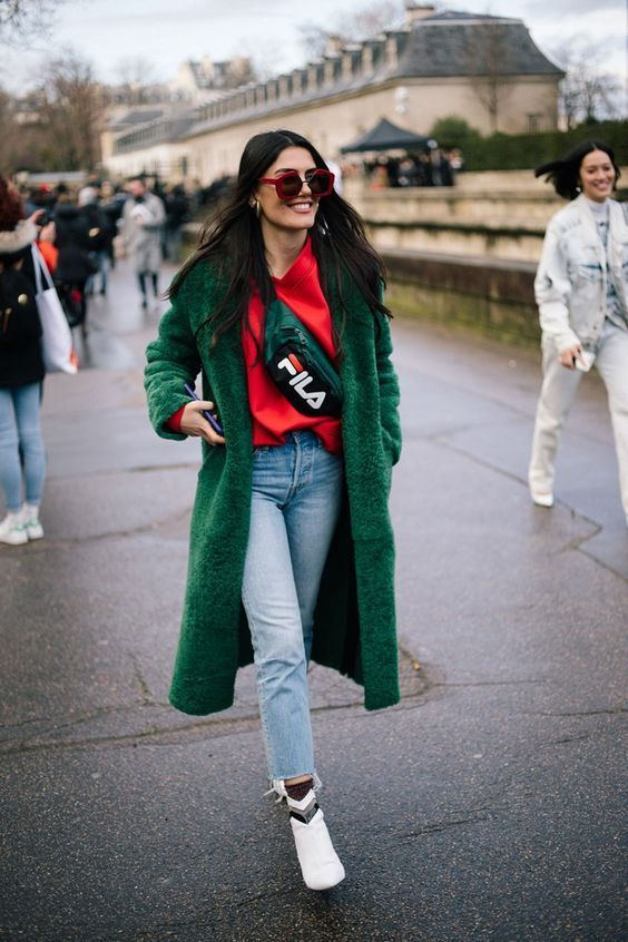 emerald green and red outfit combo