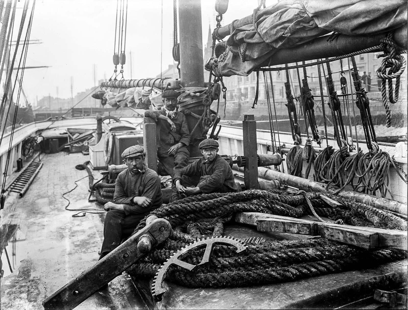 Sailors on the Sarah McDonald at Waterford. 1913.