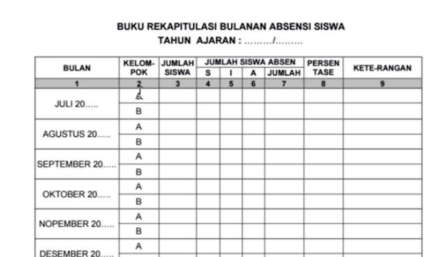 Contoh Buku Rekap Absensi Bulanan PAUD/ TK Fitur Lengkap Siap Pakai docx