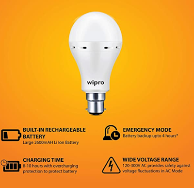 Wipro Garnet 12W Emergency Bulb (Inverter LED bulb) With Inbuilt Rechargable Battery