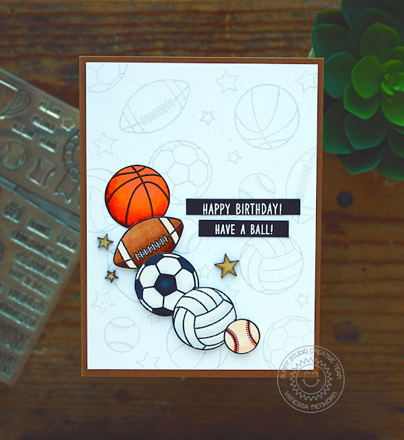 Sunny Studio Stamps: Team Player Sports Themed Birthday Card by Vanessa Menhorn