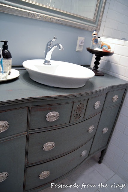 DIY bathroom vanity from dining room buffet