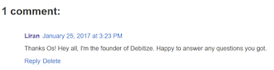 Debitize Founder Comment on my Blog