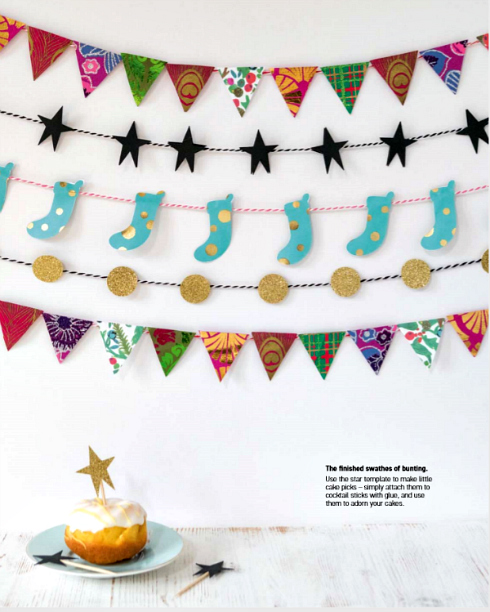 Miniature garlands featuring stockings, dots, and pennants