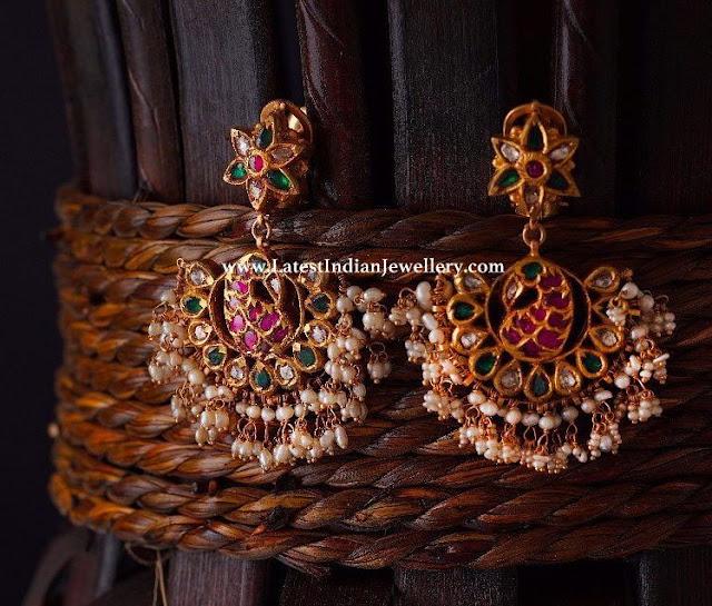 Peacock Gold Hanging Earrings