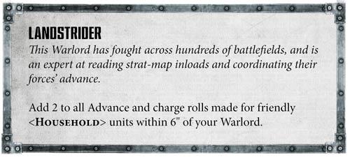 Rasgos Señor de la Guerra Caballeros Imperiales