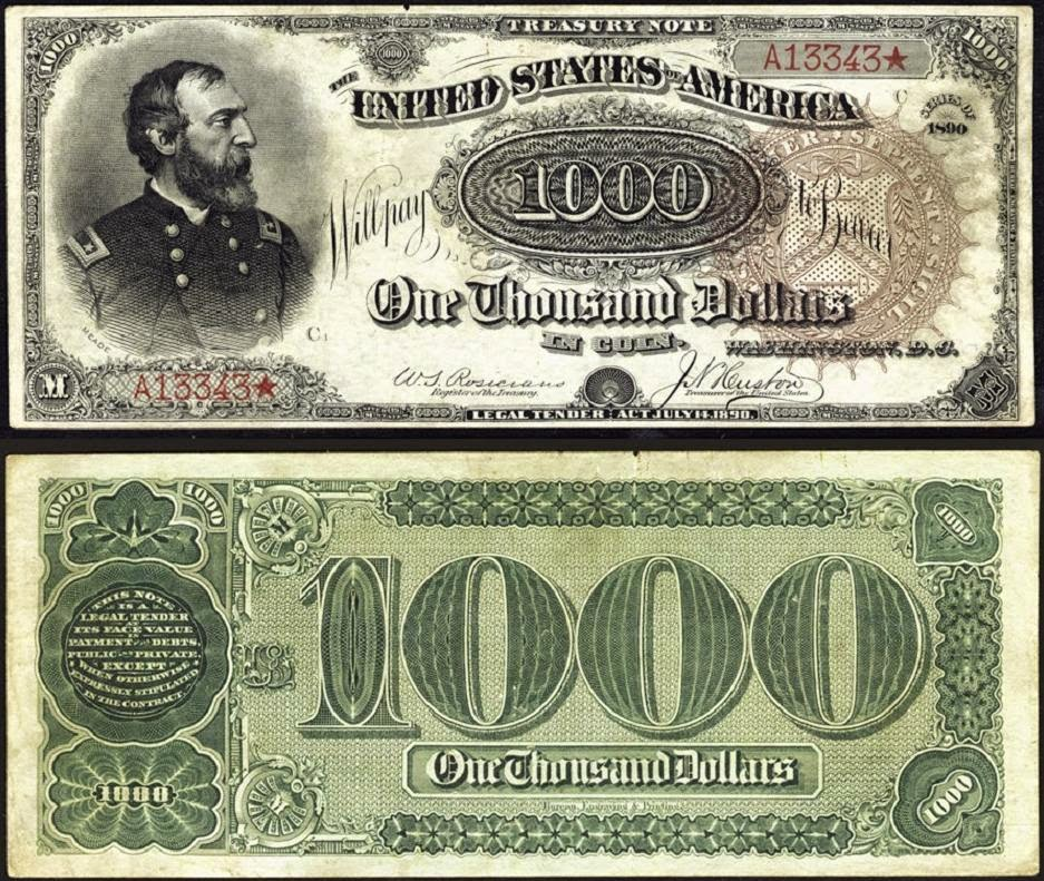 US currency 1890 1000 Dollar bill Treasury Note