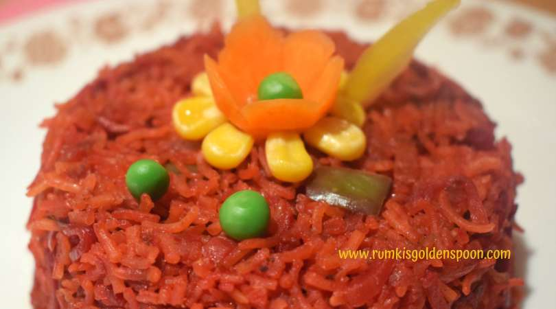 Beetroot Pulao recipe, Beetroot rice recipe, Instant pot Beetroot pulao, Indian recipes, Rice recipes, Healthy Recipes, Veg recipes, Vegan recipes, Quick and easy recipe, Beetroot recipes, Rumki's Golden Spoon