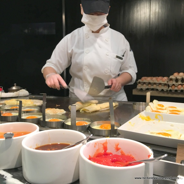egg station at breakfast buffet at Regent Taipei in Taiwan