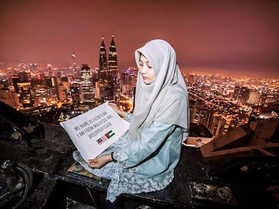Siapa Fatin ilani Di Sebalik Gambar Berkebaya Labuh Berlatarkan Pemandangan Ibu Kota Kuala Lumpur dengan Mesej Keamanan GAZA!
