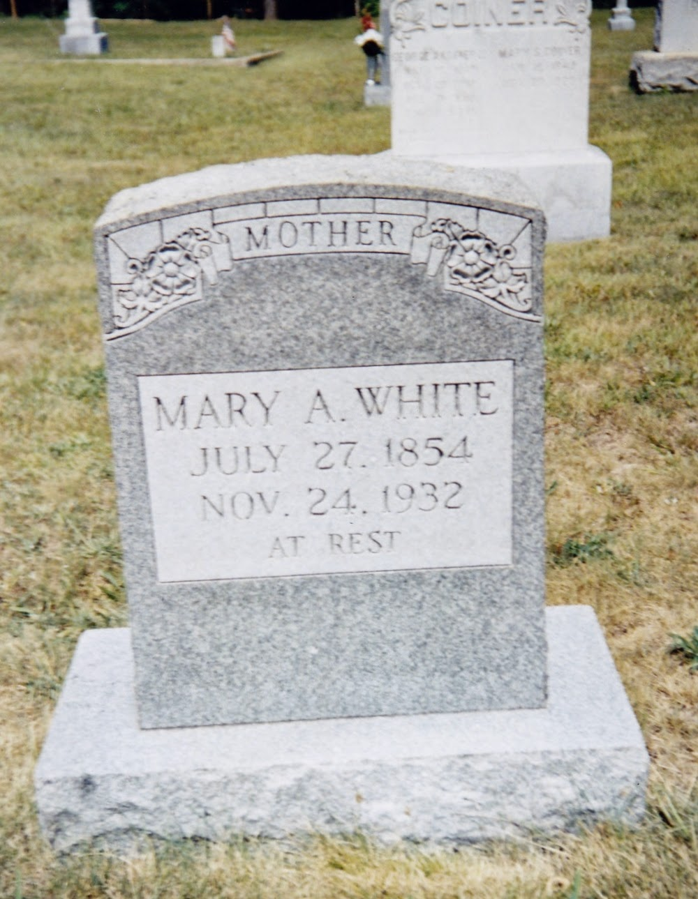 Mary A. White Tombstone, Bethlehem Lutheran Church Cemetery, Ladd, VA