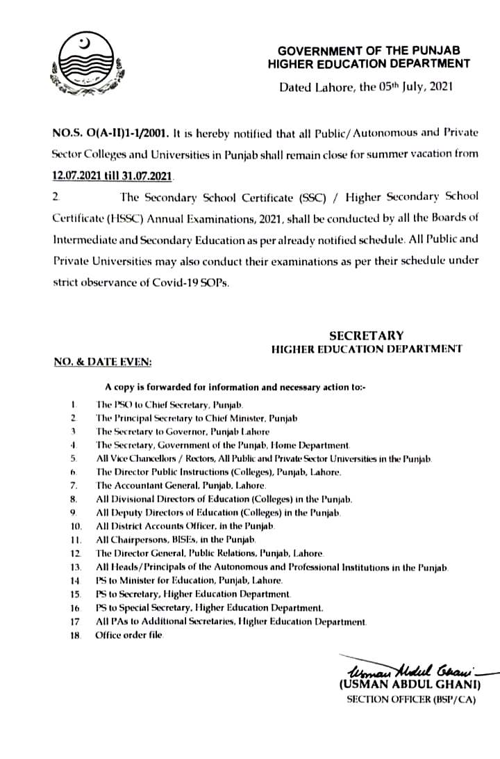 Higher Education Department Govt of Punjab announced summer vacations in Colleges and Universities in Punjab 2021