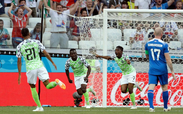 Nigeria beats Iceland by 2 goal