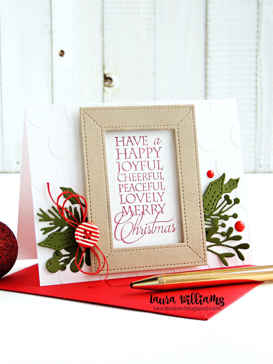 Have a Happy Joyful Cheerful Peaceful Lovely Merry Christmas - handmade holiday card making idea with Impression Obsession stamps and diecutting #iostamps #christmascards