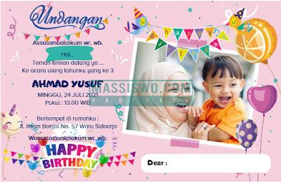 contoh undangan ulang tahun anak laki laki yang bisa di edit