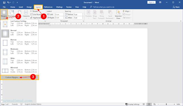 cara mengatur margin di word untuk skripsi