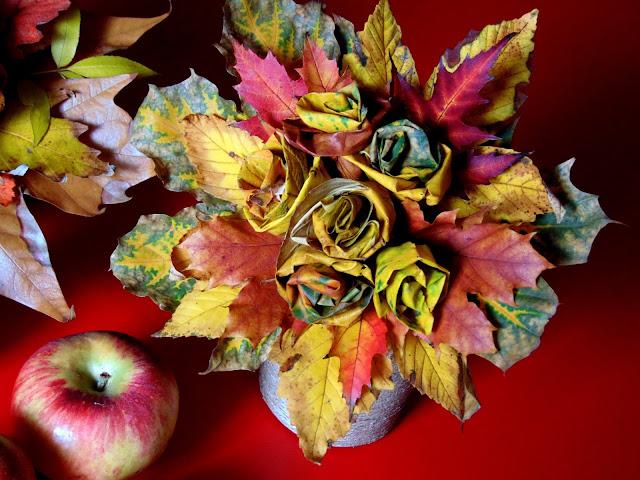 jak zrobić bukiet z liści