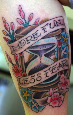 tatuaje de reloj de arena