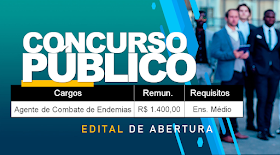 Edital Publicado de concurso público para Nível Médio! Remuneração R$ 1.400,00