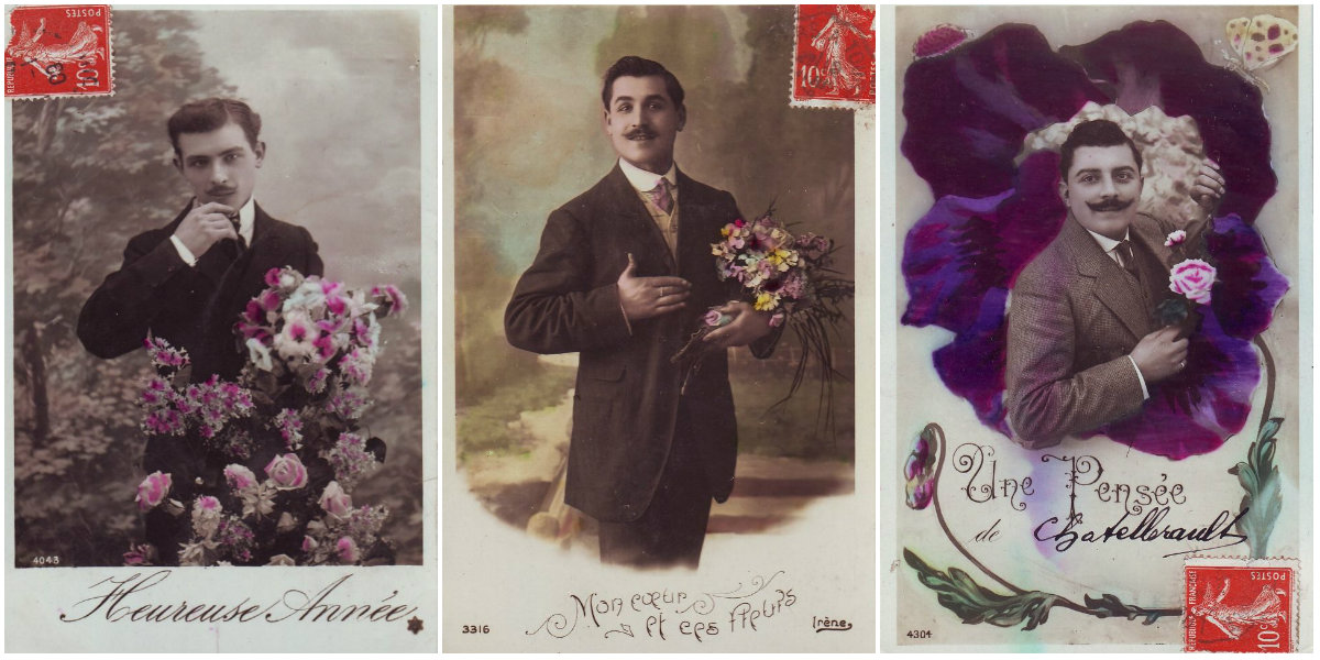 Vintage French Postcards of Mighty Moustached Men With Flowers