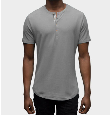Muralla Grey Short Sleeve Henley Shirt from Cohesive & Co.