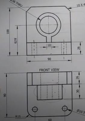 رسم القطاع الأفقي للشباك