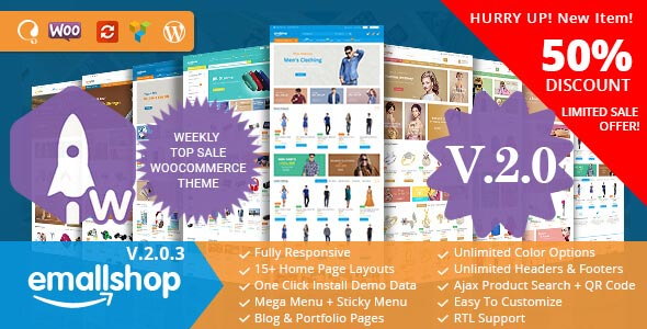 Free download EmallShop – Responsive Multipurpose WooCommerce Theme v2.0.6