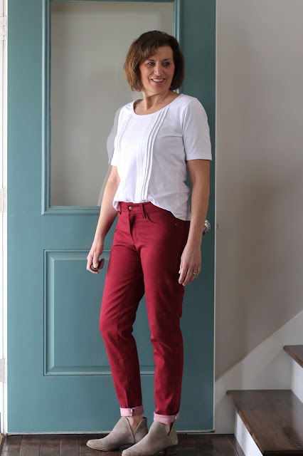 Style Maker Fabrics' stretch denim for the Ginger jeans and white knit for a pintuck and lace trimmed Union St. Tee