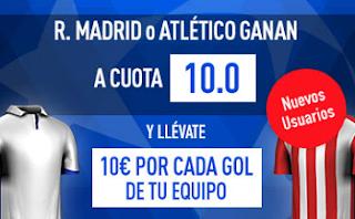 Supercuota 10 Sportium + 10 € gol champions Real Madrid vs Atletico + Bono 200€ 2 mayo codigo JRVM