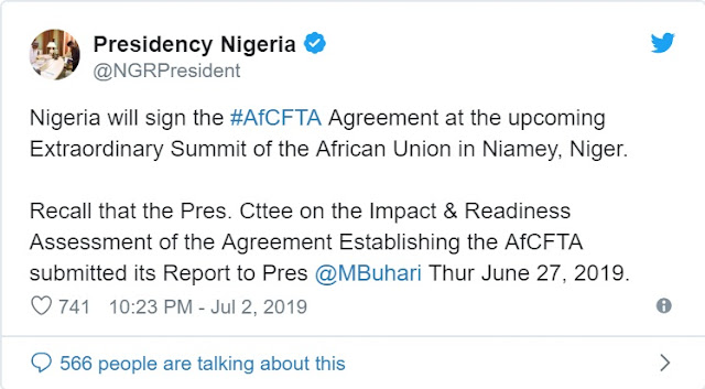 Buhari finally agrees to sign AfCFTA