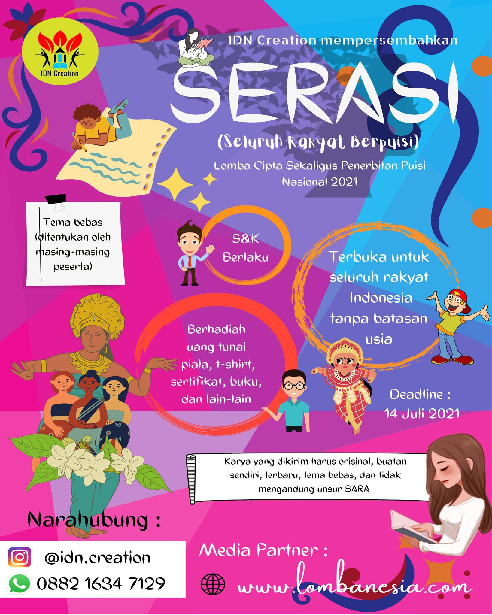 SERASI (Seluruh Rakyat Berpuisi) Lomba Menulis Puisi Tingkat Nasional Berhadiah Uang Tunai Bersama IDN Creation
