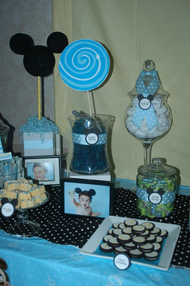 Treat Me Sweet Mickey Mouse 1st Birthday Dessert Table