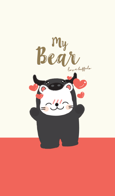 Bear love Buffalo. (Red ver.)
